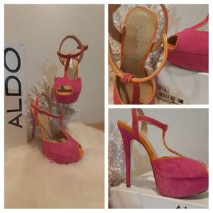 Aldo High Heel Platform Hot Pink Orange T-Bar